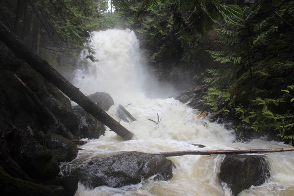 Sun Peaks waterfall in early summer with an amazing show of power - photo by BestSunPeaks.com