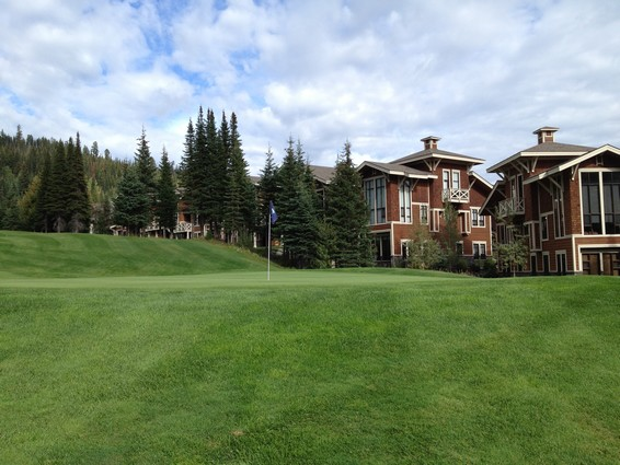16th hole at Sun Peaks backing the Best Sun Peaks condo at Stone's Throw Sun Peaks