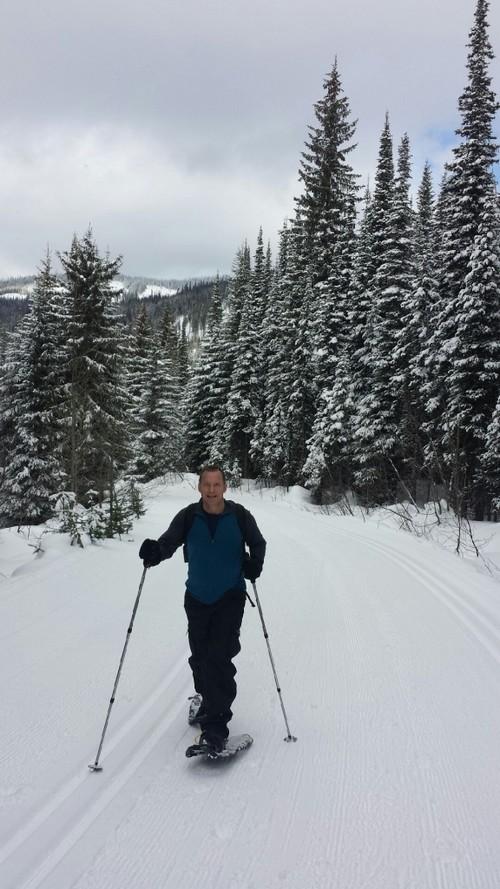 Paul snowshoeing at Sun Peaks Resort