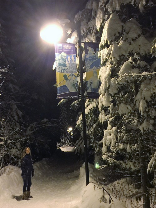 Sun Peaks valley Trail at night