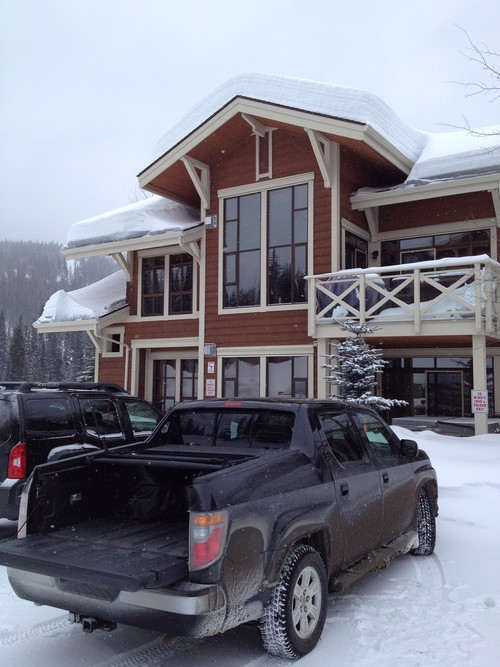 Park and unload at Stone's Throw at Sun Peaks Resort