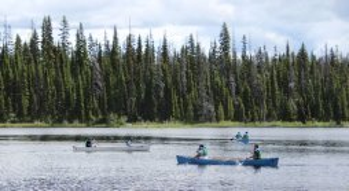 Canoes await at McGillivray Lake