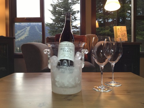 Harpers Trail wine chilling in our Best Sun Peaks Stone's Throw condo