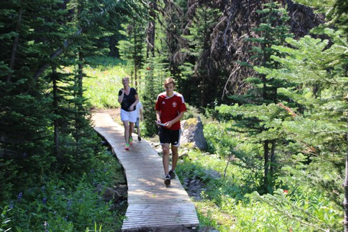 Hike to Mount Tod summit at Sun Peaks - crossing the boardwalks over wet areas