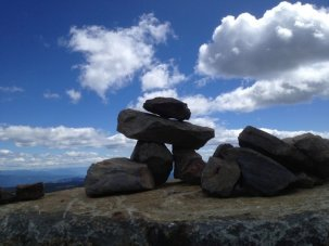 Inukshuk at Top of the World Hiking Trail at Sun Peaks Resort