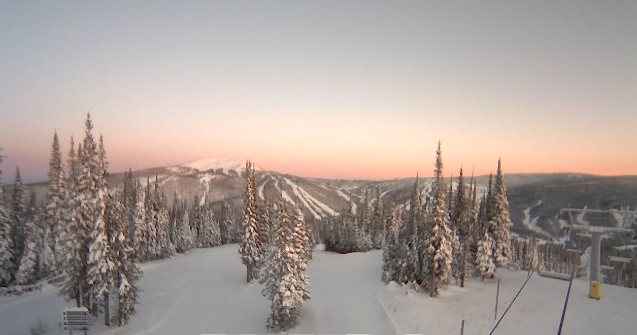 View from top of Mt. Morrisey at Sun Peaks Resort with alpenglow