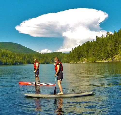 Sun Peaks Paddleboarding - SUPer Fun times stand up paddleboarding on Heffley Lake (photo of Paul and Nancy by Paddle Surfit