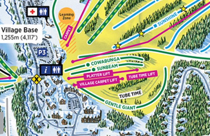 Map to Sun Peaks Tube Park