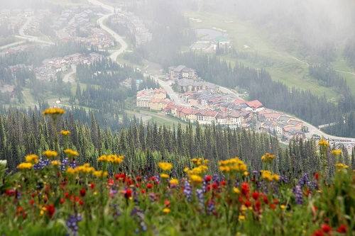Beautiful Sun Peaks hiking and village view