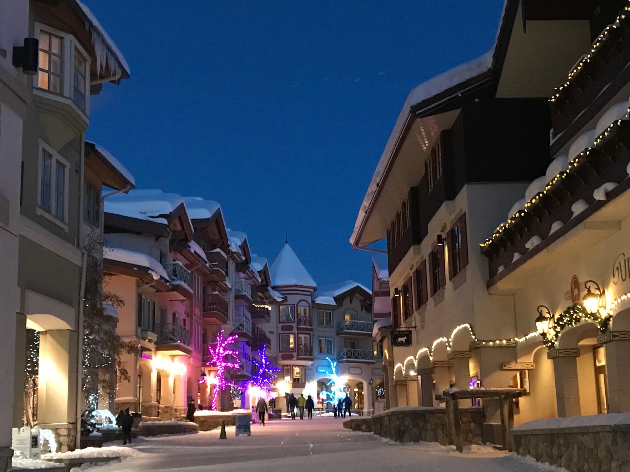 Sun Peaks Village scene at night