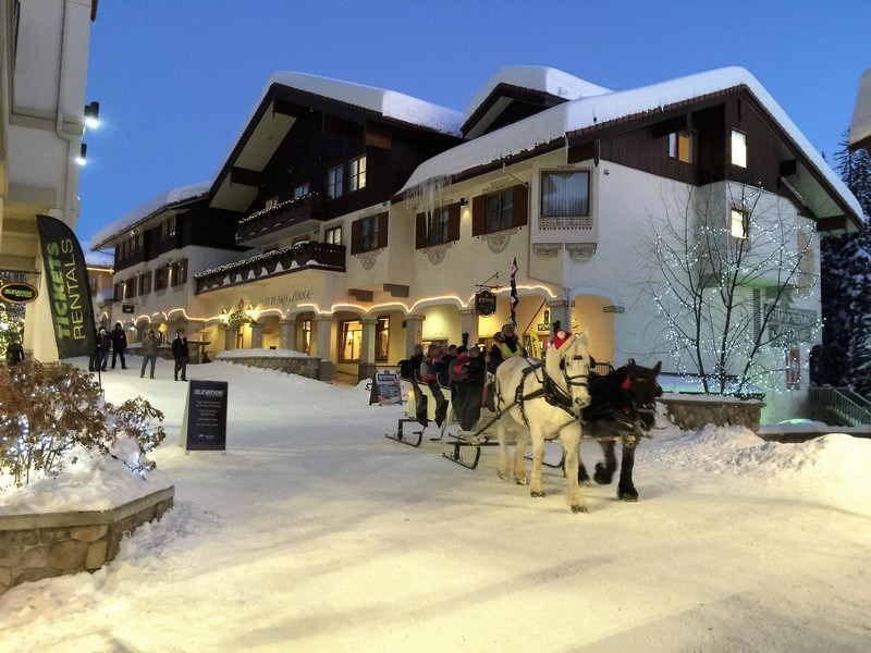 Beautiful horse-drawn carriage through Sun Peaks Resort