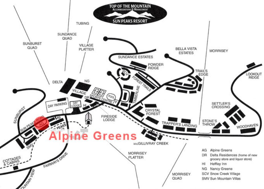 location of Alpine Greens at Sun Peaks