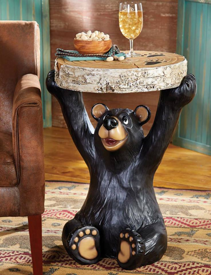 rustic ski cabin décor - cute bear end table