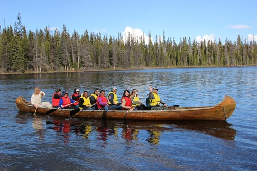 Voyageur Canoe Tour on McGillivray Lake in Summer near Sun Peaks Resort