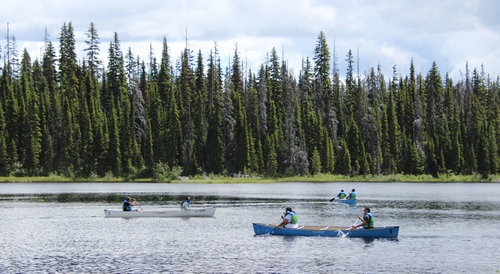 Canoes await at McGillivray Lake