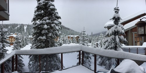 View from the spacious Trapper's Landing Sun Peaks deck at BestSunPeaks.com