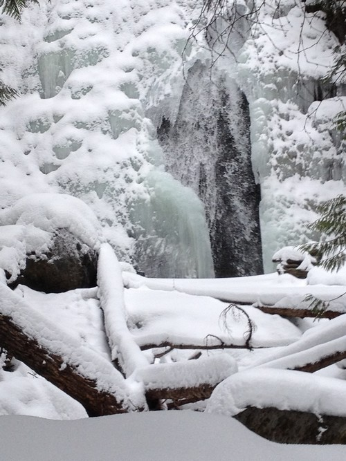 Sun Peaks Waterfall in early winter with the running water still visible - photo by BestSunPeaks.com