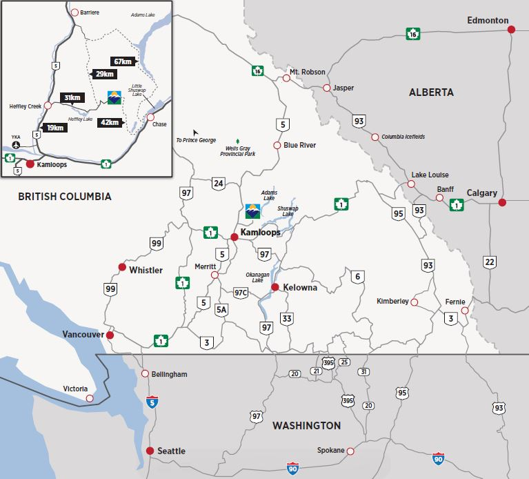 Driving map to Sun PEaks Resort - courtesy Sun Peaks