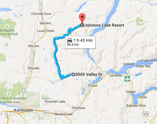 Map to Johnson Lake from BestSunPeaks.com