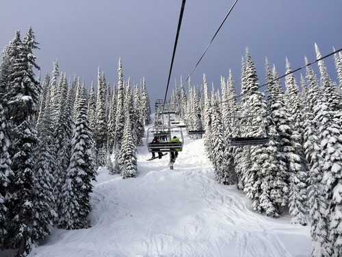 Heading up Morrisey Express Chairlift