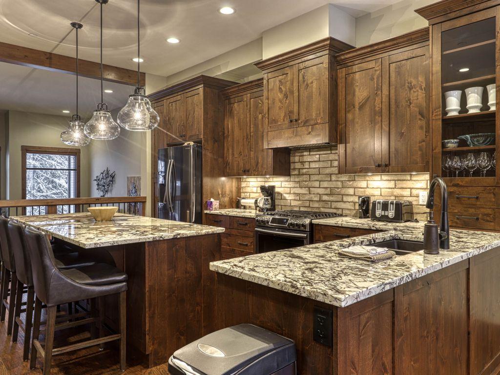 Luxurious kitchen at Village Walk Sun Peaks vacation rental