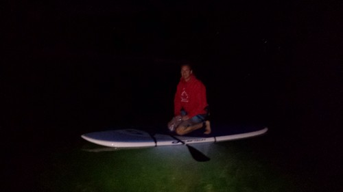 Looking for trout - night SUP Tours on Heffley Lake