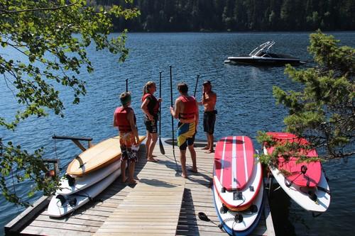 Kamloops Sun Peaks Stand Up Paddle Boarding on Heffley Lake near Best Sun Peaks Vacations - summertime fun.