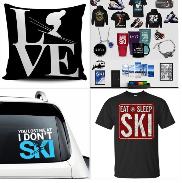 Ski and snowboard gifts, t-shirts, hoodies, wall decals, car decals, mugs, glasses, pillow cases and more