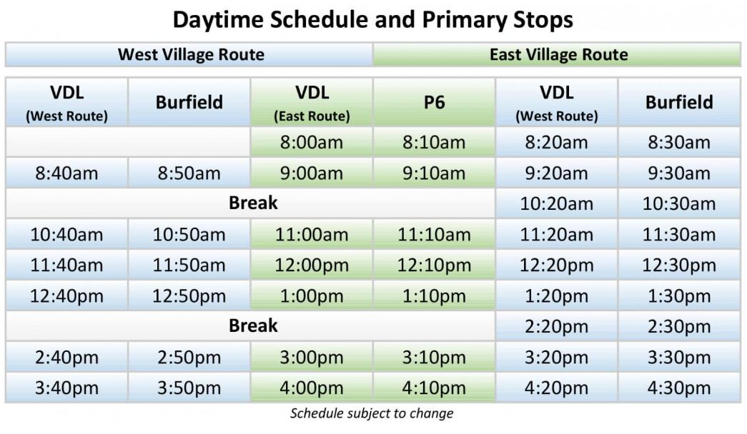 Sun Peaks Free Shuttle - Day Schedule