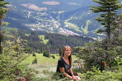 Wild flowers and views of Sun Peaks Resort while hiking Sun Peaks