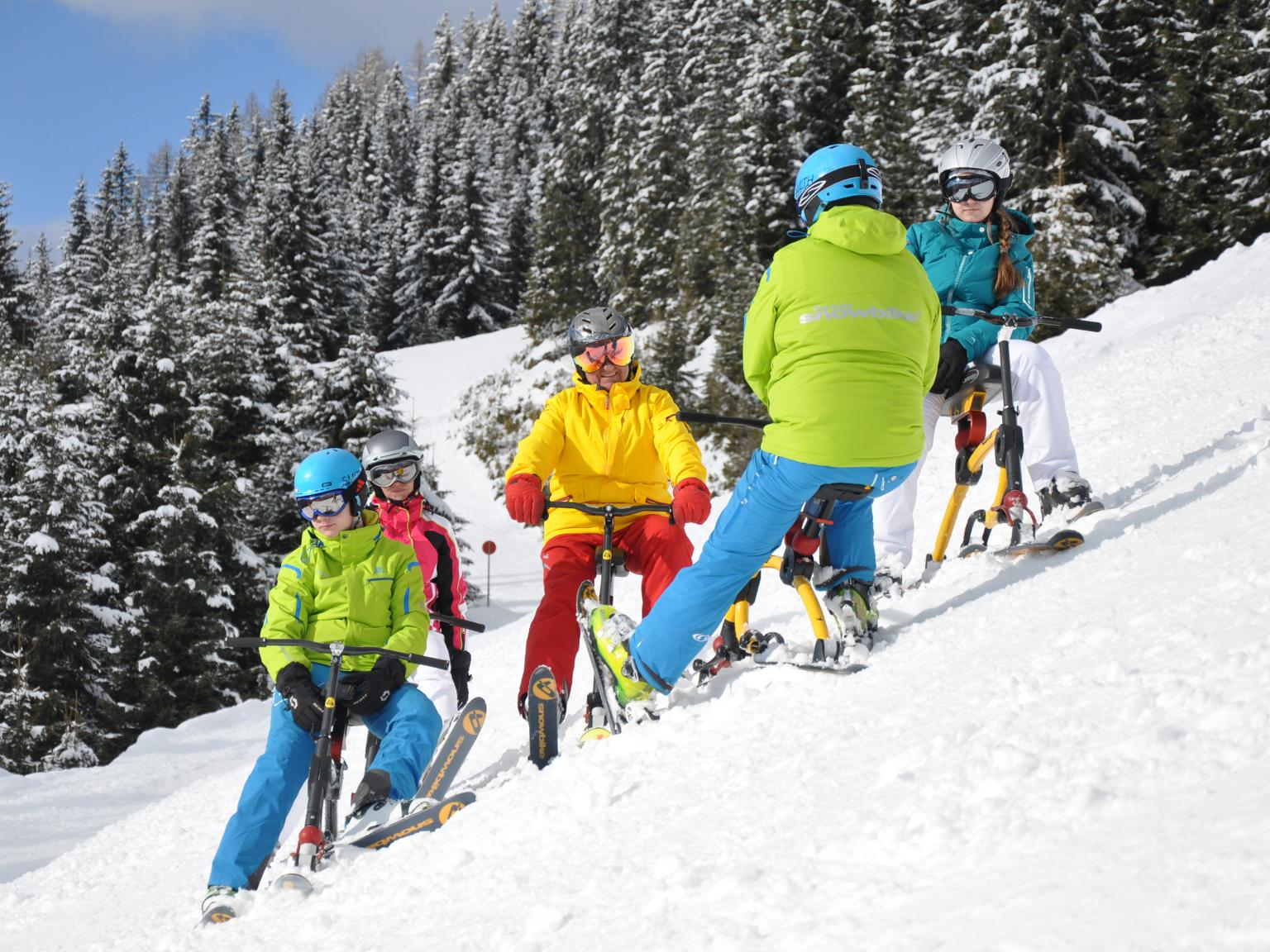 Sun Peaks Snow Bikes, Ski-Bobs, ski-bikes for Downhill Thrills (photo Sun Peaks Resort)