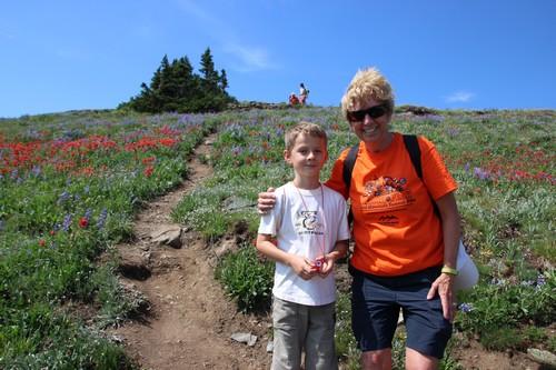 Nancy Greene Raine heading to summit of Mount Tod at Sun Peaks