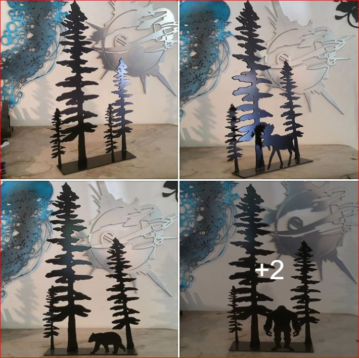 custom metal trees and moose (or bear, yeti and more)