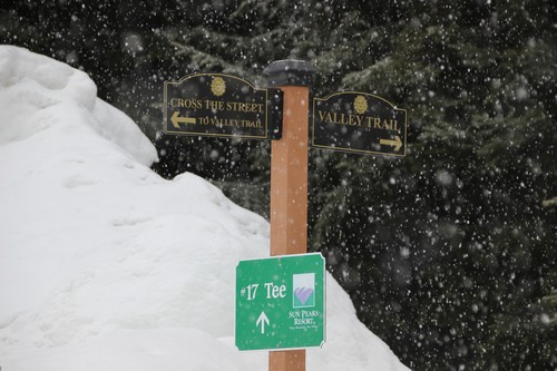 Valley Trail sign and lots of snow