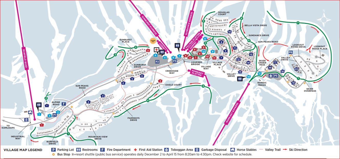 Sun Peaks Free Shuttle Bus Loop Map