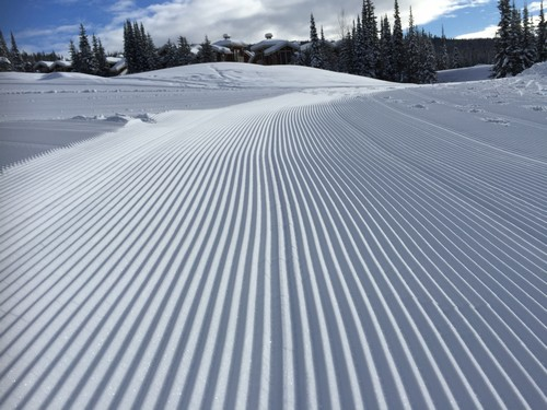 Fresh corduroy at Sun Peaks with Stone's Throw behind