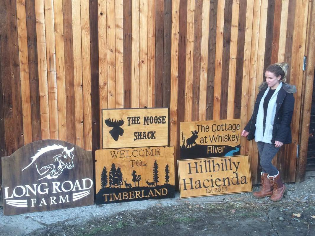 custom wood signs (carved wood signs and carved wood hanging signs) created by C