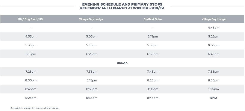 Sun Peaks Free Shuttle Bus - Night Schedule