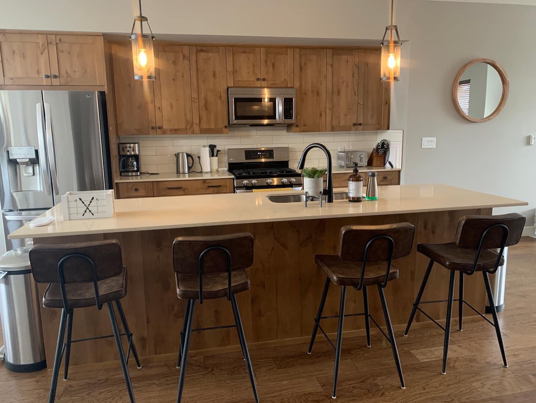 Luxurious kitchen at Echo Landing Sun Peaks vacation rental